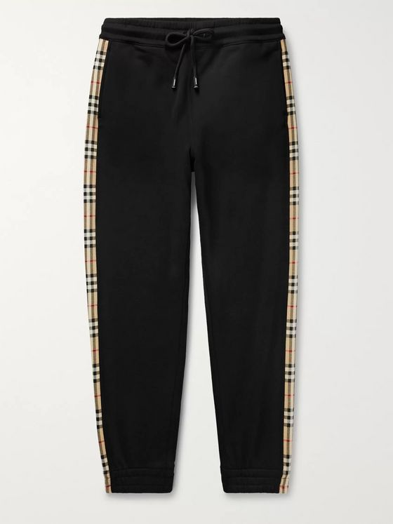 BURBERRY Tapered Checked Loopback Cotton-Jersey Sweatpants