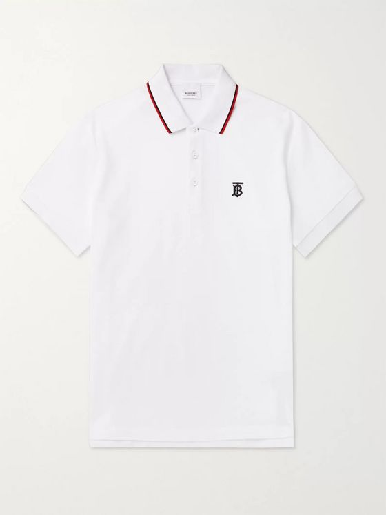 Burberry Logo-Embroidered Contrast-Tipped Cotton-Piqué Polo Shirt