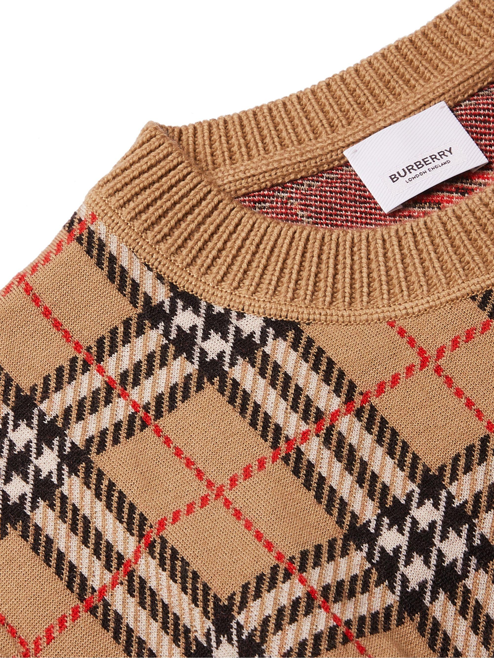 Beige Checked Merino Wool Sweater | Burberry