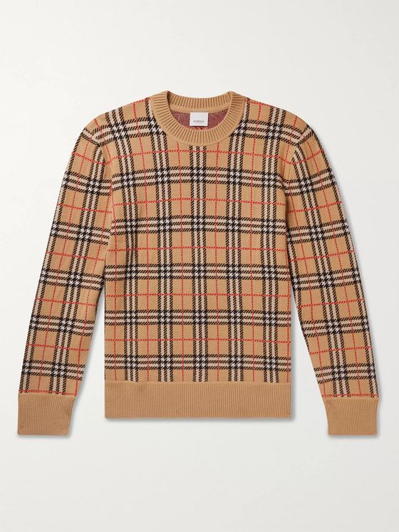 Burberry Checked Merino Wool Sweater