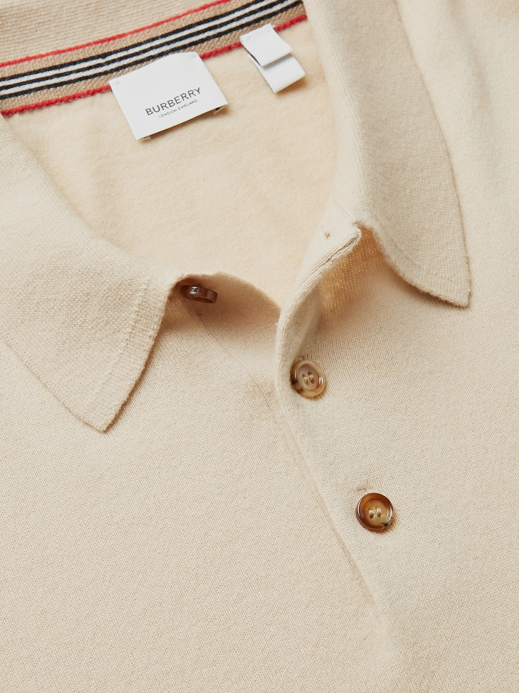 Burberry Logo-Embroidered Cashmere Polo Shirt