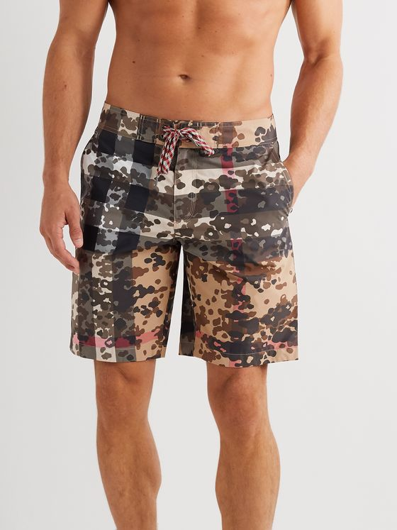 Burberry Long-Length Camouflage-Print Shell Swim Shorts