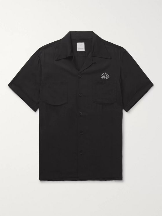 VISVIM Irving Camp-Collar Logo-Embroidered Printed Twill Shirt