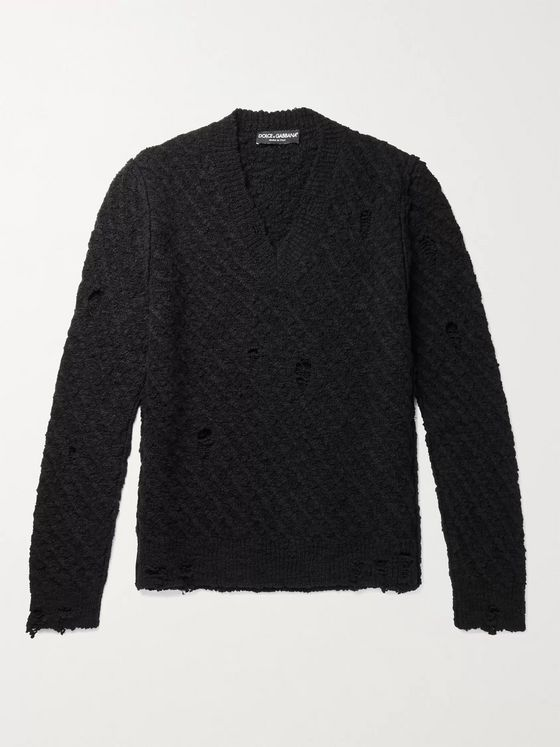 Dolce & Gabbana Slim-Fit Distressed Virgin Wool-Blend Sweater