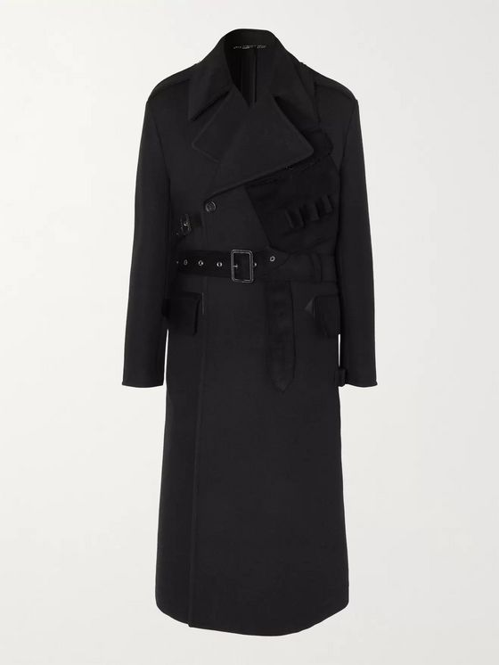 DOLCE & GABBANA Oversized Double-Breasted Suede-Trimmed Virgin Wool and Cotton-Blend Coat
