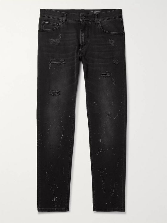Dolce & Gabbana Paint-Splattered Distressed Stretch-Denim Jeans