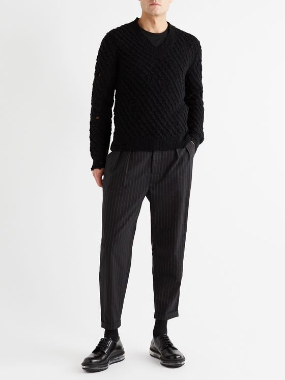 Dolce & Gabbana Tapered Cropped Pleated Pinstriped Virgin Wool-Blend Trousers