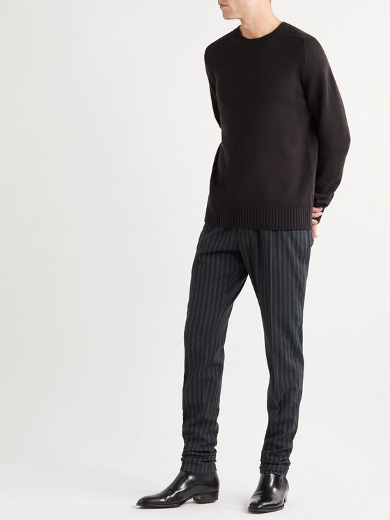Dolce & Gabbana Slim-Fit Tapered Pinstriped Cotton-Blend Trousers
