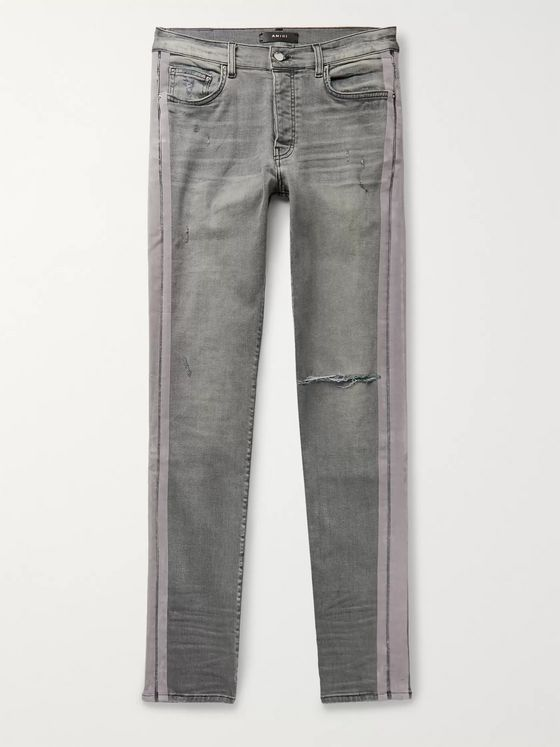 AMIRI Skinny-Fit Velvet-Trimmed Distressed Stretch-Denim Jeans