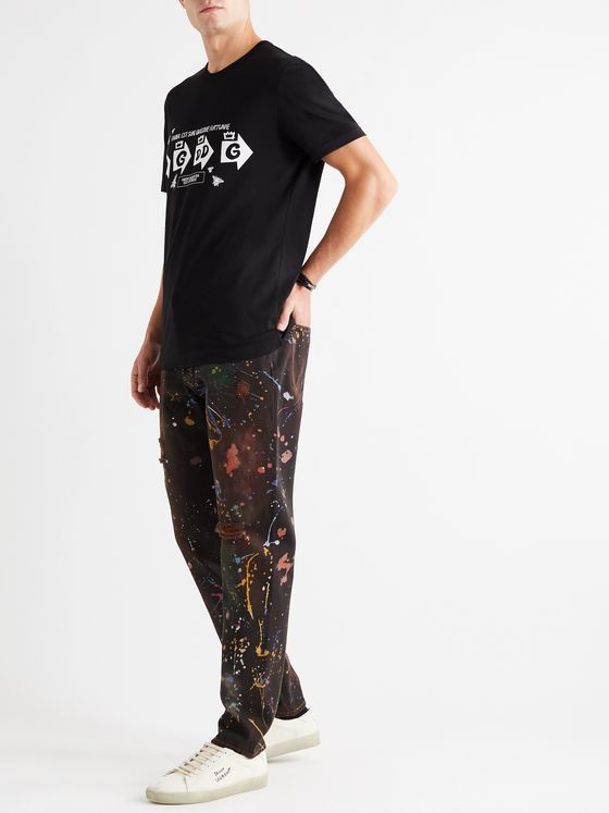 Dolce & Gabbana Paint-Splattered Distressed Denim Jeans
