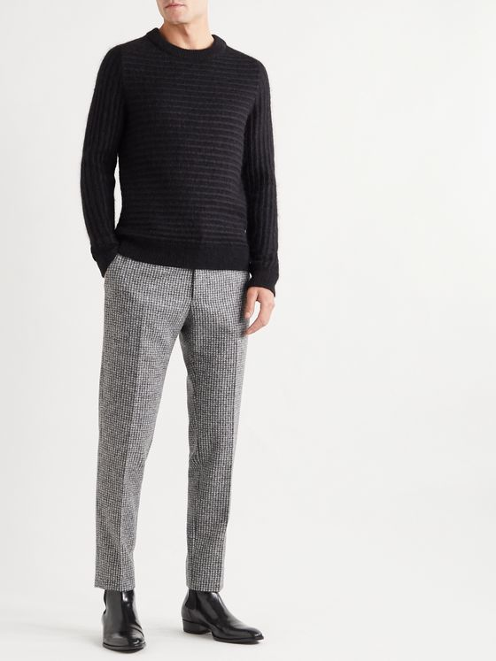Dolce & Gabbana Slim-Fit Tapered Houndstooth Tweed Trousers