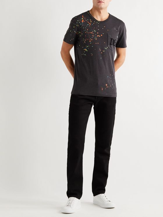 Dolce & Gabbana Logo-Flocked Paint-Splattered  Mélange Cotton-Jersey T-Shirt
