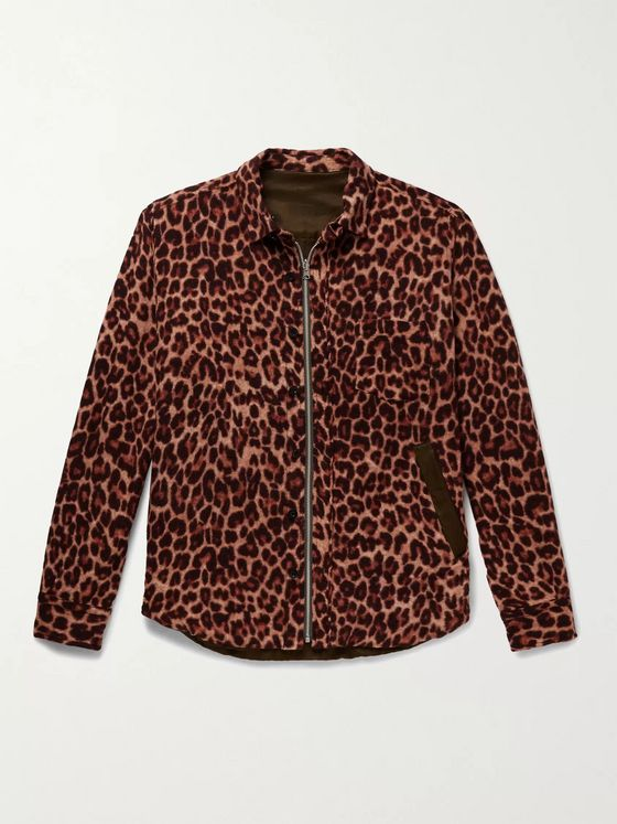 Sacai Reversible Leopard-Print Wool and Shell Jacket