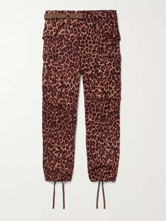 Sacai Belted Leopard-Print Wool Trousers