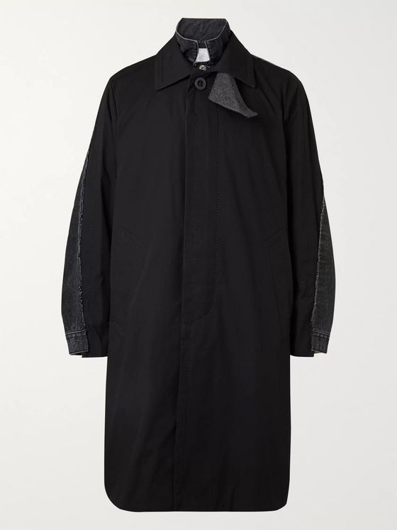 Sacai Layered Wool-Blend and Denim Coat