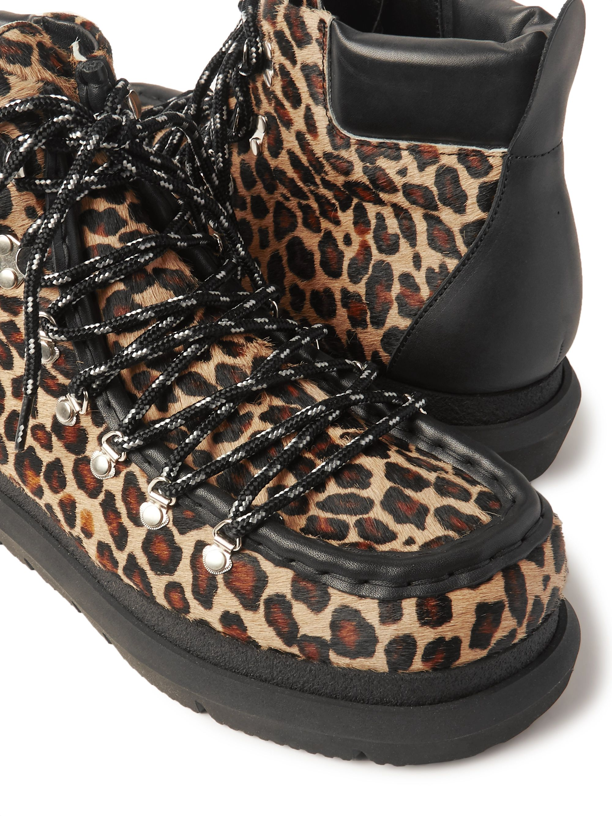 Sacai Leopard-Print Leather-Trimmed Calf Hair Boots