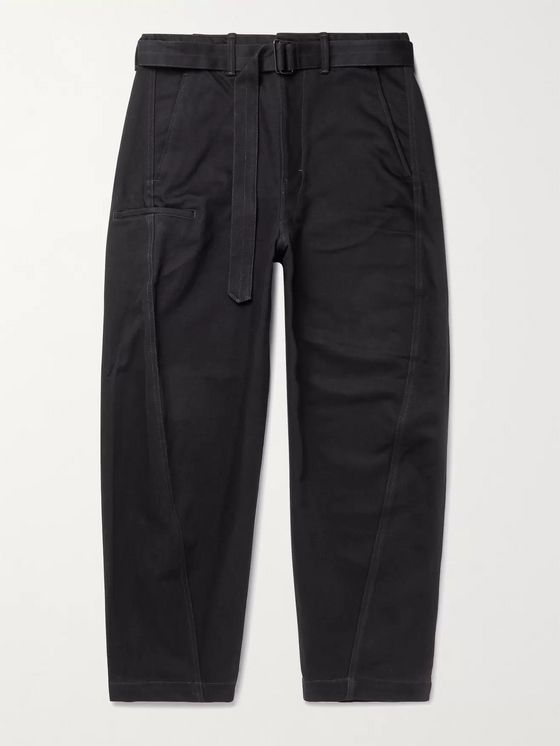 Lemaire Tapered Belted Cotton-Twill Trousers