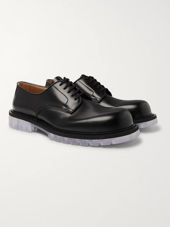 Bottega Veneta Clear Sole Polished-Leather Derby Shoes