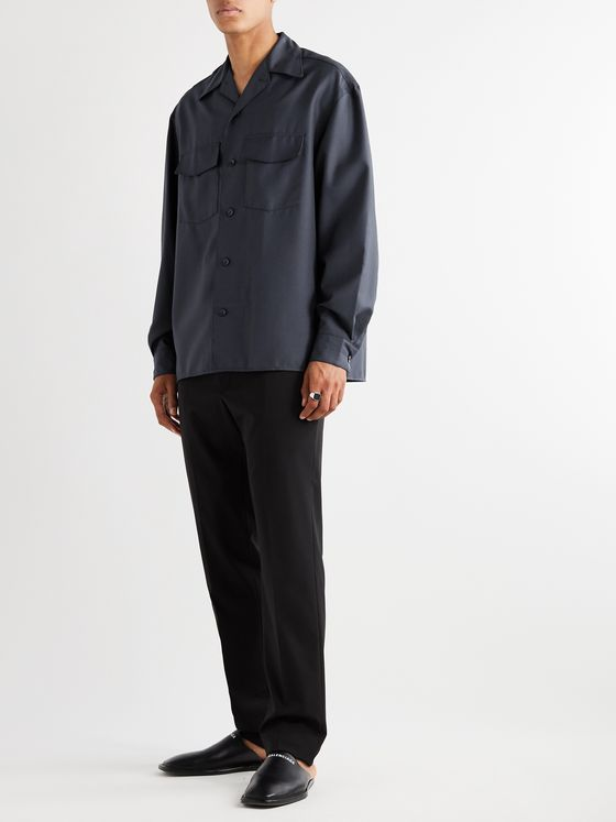 Lemaire Convertible-Collar Tech-Virgin Wool Shirt