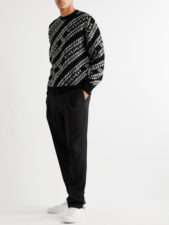 Givenchy Logo-Jacquard Wool-Blend Sweater