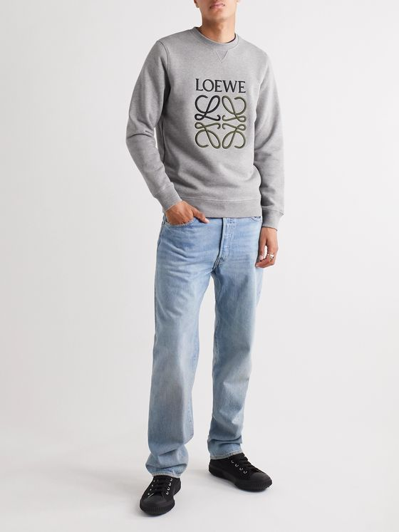 Loewe Slim-Fit Logo-Embroidered Mélange Loopback Cotton-Jersey Sweatshirt