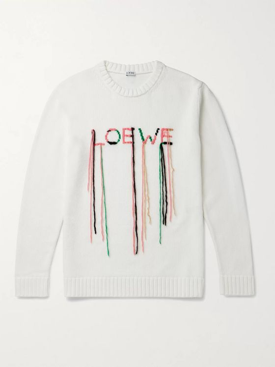 LOEWE Logo-Embroidered Cotton-Blend Sweater