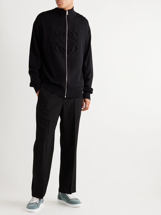 Loewe Logo-Embroidered Zip-Up Wool and Cashmere-Blend Sweater