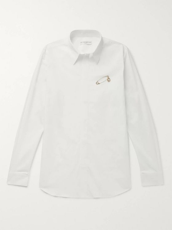 Givenchy Embellished Embroidered Cotton-Poplin Shirt