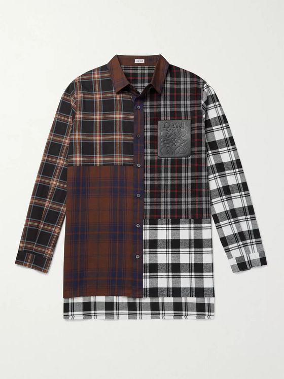 Loewe Leather-Trimmed Patchwork Checked Cotton-Flannel Shirt