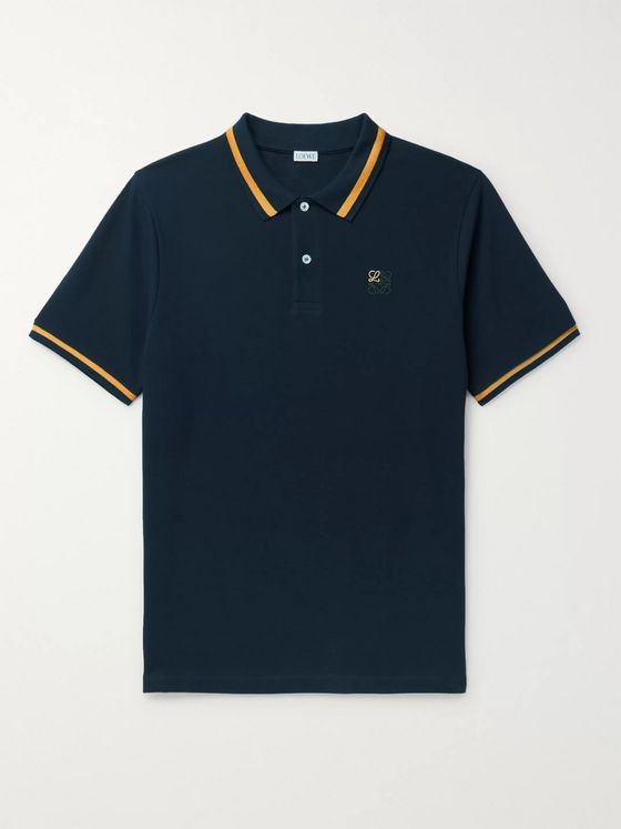 LOEWE Logo-Embroidered Contrast-Tipped Cotton-Piqué Polo Shirt