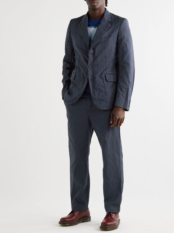Junya Watanabe Garment-Dyed Pinstriped Woven Suit Trousers