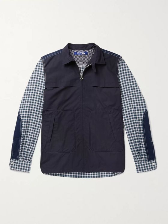 Junya Watanabe Patchwork Checked Cotton Zip-Up Overshirt