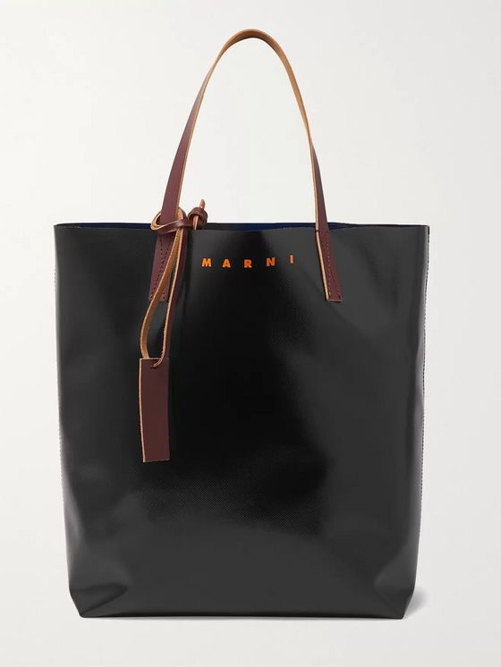 Marni Large Logo-Print Colour-Block Leather-Trimmed PVC Tote Bag
