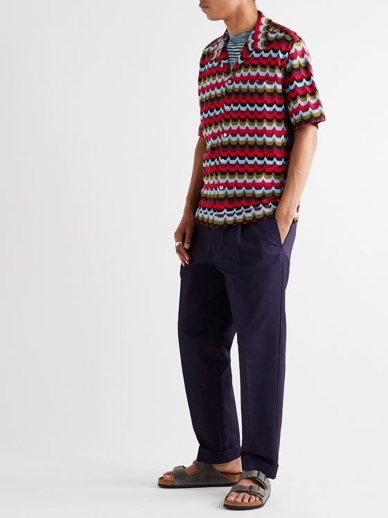 Missoni Camp-Collar Crochet-Knit Cotton Shirt