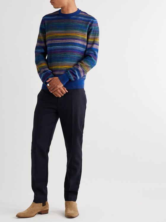 Missoni Slim-Fit Striped Cable-Knit Wool-Blend Sweater