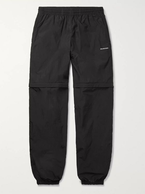 Balenciaga Tapered Zip-Off Crinkled-Nylon Track Pants