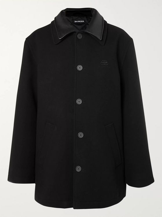 Balenciaga Logo-Embroidered Leather-Trimmed Brushed Wool and Cashmere-Blend Padded Coat