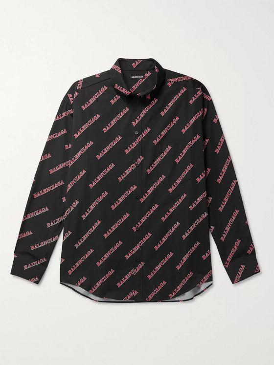 Balenciaga Button-Down Collar Oversized Logo-Print Cotton-Poplin Shirt