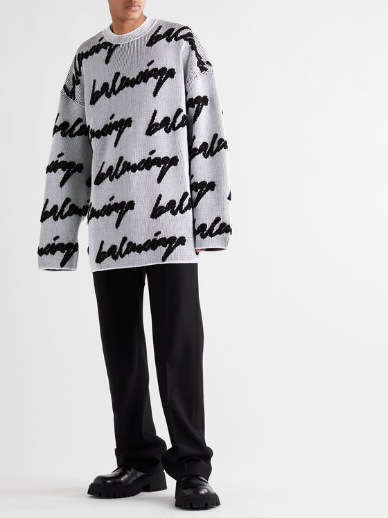 Balenciaga Oversized Logo-Intarsia Cable-Knit Sweater