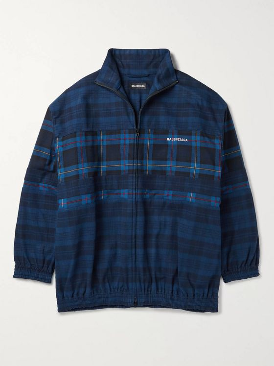 Balenciaga Oversized Checked Cotton-Flannel Bomber Jacket