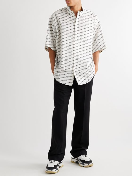 Balenciaga Oversized Button-Down Collar Logo-Print Cotton-Poplin Shirt