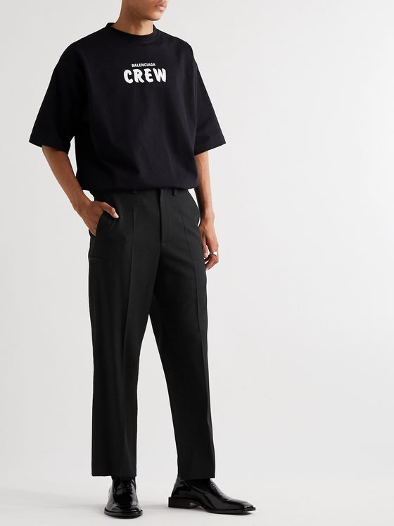 Balenciaga Black Cropped Wool-Twill Trousers