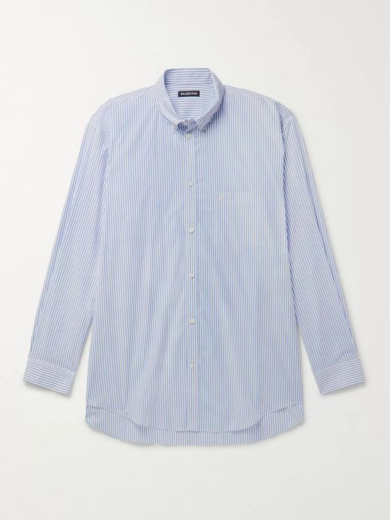Balenciaga Oversized Button-Down Collar Logo-Print Striped Cotton Shirt