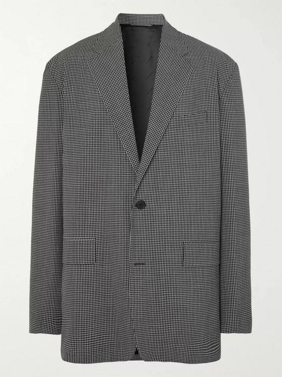 Balenciaga Oversized Checked Wool-Blend Blazer