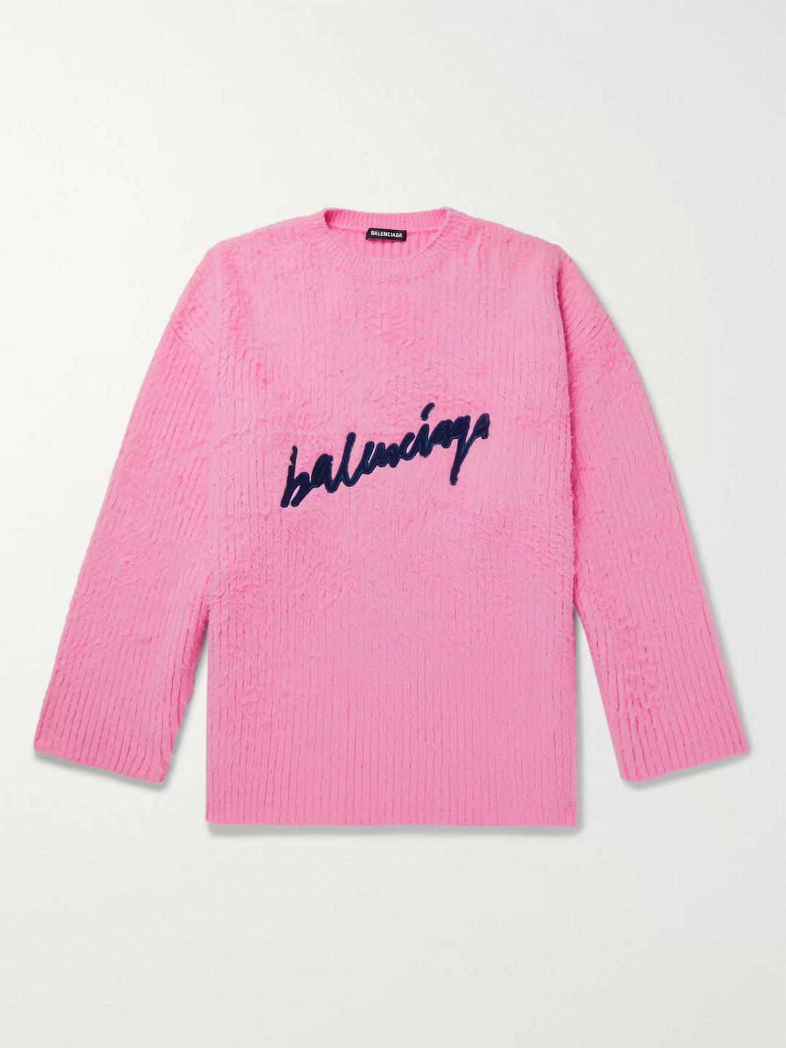 Balenciaga Cottons OVERSIZED LOGO-EMBROIDERED BRUSHED COTTON-BLEND SWEATER