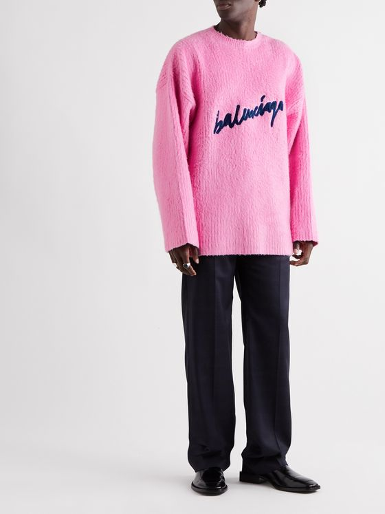 Balenciaga Oversized Logo-Embroidered Brushed Cotton-Blend Sweater
