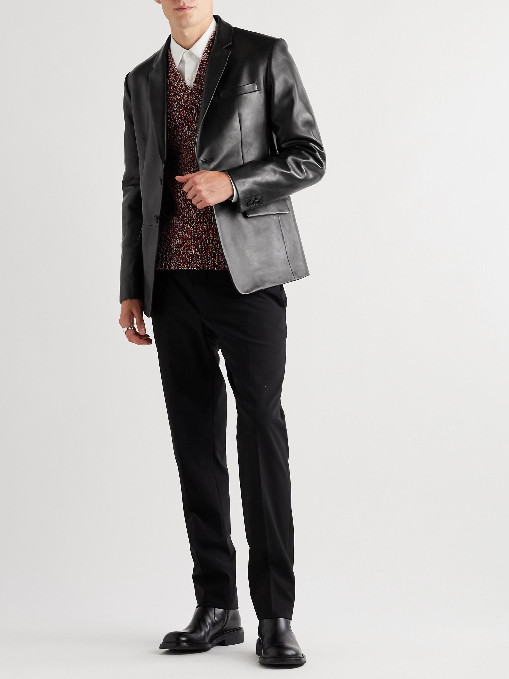 Prada Slim-Fit Leather Blazer
