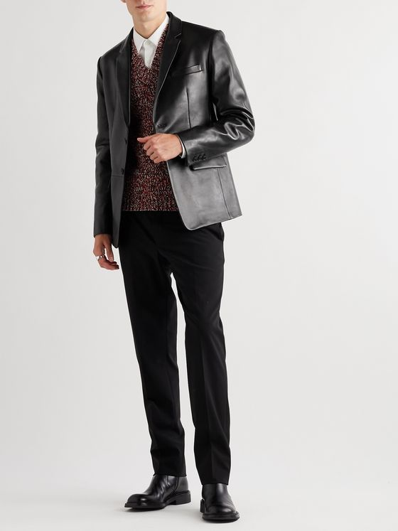 Prada Slim-Fit Leather Blazer