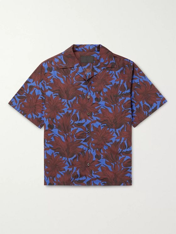 Prada Camp-Collar Floral-Print Cotton-Poplin Shirt