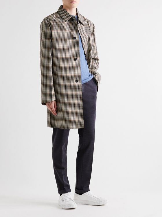 Prada Houndstooth Wool-Blend Coat